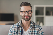 Photo Of Young Handsome Cheerful Stubble Man Happy Positive Smile Confident Wear Casual Outfit Indoors