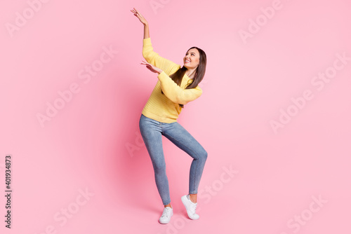 Slika na platnu Full size photo of young attractive smiling cheerful good mood girl dancing look