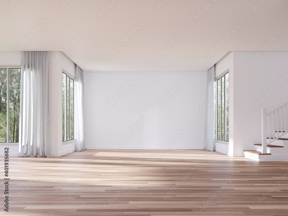 Fototapeta Modern style empty house interior with blank white wall 3d render,There are white paint walls,wooden floors  with large windows overlooking nature view.