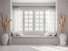 Vintage Style Window Seat 3d Render.There Are White Wood Plank Wall And Floor Decorated With Big White Jar With Dry Reed Flower. Large Windows Looking Out To See Nature.