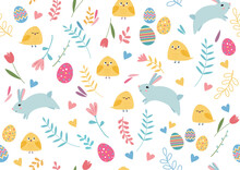 Seamless Colorful Pattern With Easter And Spring Elements: Rabbits, Flowers, Chiks, Birds, Eggs
