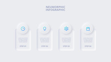Neumorphic Elements For Infographic. Template For Diagram, Graph, Presentation And Chart. Skeuomorph Concept With 4 Options, Parts, Steps Or Processes