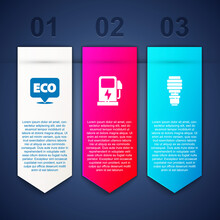 Set Label For Eco Healthy Food, Electric Car Charging Station And LED Light Bulb. Business Infographic Template. Vector.