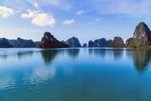 Lagoon In The Halong Bay Scenic View Of Rock Island. Landmark Famous Destination Vietnam