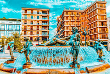 Square Of Saint Mary's And Fountain Rio Turia. Valencia.