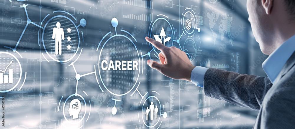 Fototapeta Career Inscription and people icons on virtual screen. Businessman pressing Career.