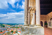 Loggia Of Medieval Castle Of Leiria Castelo De Leiria Building With Gothic Arcade And Aerial View Of Historical City Centre, Portugal
