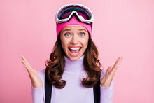 Photo Portrait Of Shocked Screaming Woman Isolated On Pastel Pink Colored Background
