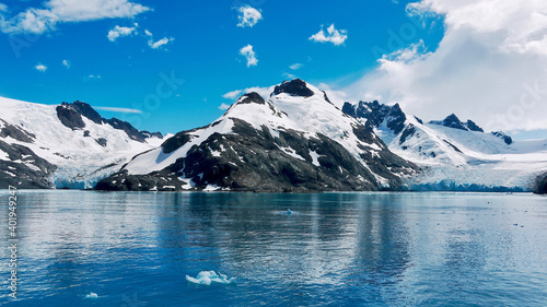 Fotografie, Obraz A dramatic landscape scene on South Georgia Island, with glaciers on both sides of a snowcapped mountain in the Drygalski Fjord