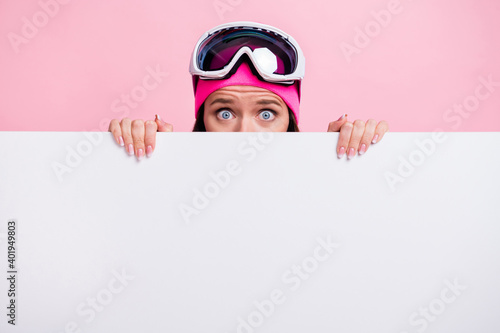 Photo of impressed funny cute wavy young woman border wear sweater glasses hidin Fototapet