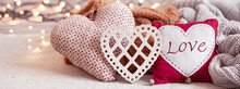 Composition Of Cute Decor Details For Valentine's Day.