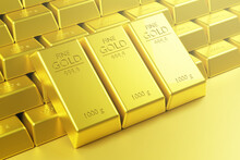 Stack Of Fine Gold Bars With Light Flare Wealthy Concept ,3d Rendering,illustration