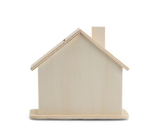 A Simulated Wooden House On A White Background.