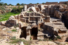 Tombs Of The Kings Near  Paphos Cyprus A 4th Century BC Necropolis, Of Burial Chambers Of The Roman Hellenic Which Is A Popular Tourist Travel Destination Attraction Landmark, Stock Photo Image