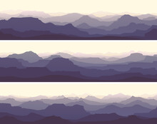 Set Of Horizontal Banners Of Vector Illustration Morning Misty Rocky Low Mountains In Violet Tone.