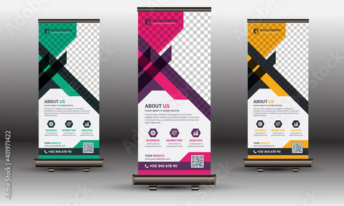 Obraz na plátne Roll Up Banner, X Banner Standee Template Set |  Green, Yellow & Red Corporate U