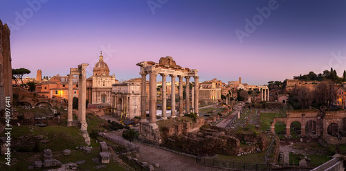 Fotografie, Obraz A panoramic shot of the Roman Forum in Rome, Italy during a beautiful sunset