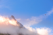 Aiguille Du Midi And Helicopter In French Alps