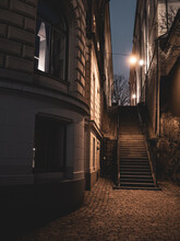 A Vertical Shot Of A Staircase Surrounded By Apartment Buildings