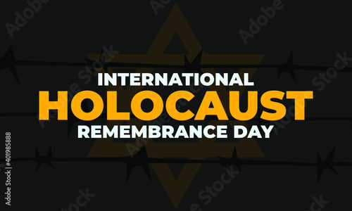 Fototapeta International Holocaust Remembrance Day is an international memorial day on 27 January commemorating the tragedy of the Holocaust that occurred during the Second World War. Star of David. Vector EPS10 obraz