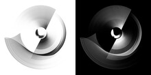 Monochrome Abstract Engine Blades Revolve In A Circle On White And Black Backgrounds. Graphic Design Elements Set. 3d Rendering. 3d Illustration. Logo, Icon, Symbol, Sign.