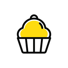 Flat MBE Style Black Gold Sweet Dessert Bakery Icon, Lovely Yellow Orange Beverage Ice Cream Item, Adorable Product Illustration For Snack Shop Liquor Bar Logo, A Piece Of Cheese Cake And Cherry Fruit