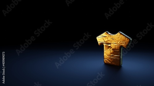 3d rendering symbol of t-shirt wrapped in gold foil on dark blue background Fototapet