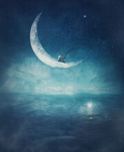 Surreal Scene With A Boy Fishing For Stars, Seated On A Crescent Moon With A Rod In His Hands. Magical Adventure Concept. Wonderful Starry Night Sky Reflecting Over The Clear Blue Ocean Water.