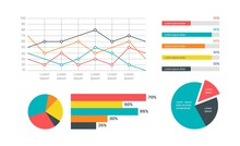 Infographics Marketing Statistic. Modern Presentation Financial Diagram, Analysis Charts, Structure Progress And Process Statistic, Timeline And Flowchart Colorful Elements Vector Set