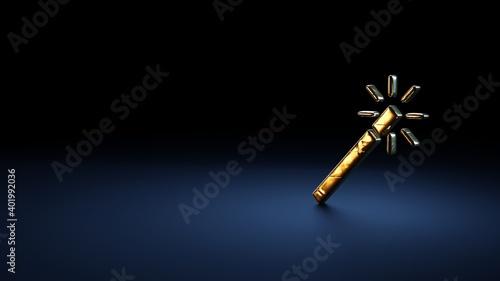 Fototapeta 3d rendering symbol of magic wand wrapped in gold foil on dark blue background obraz