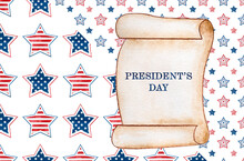 Happy Presidents' Day.  Congratulatory Inscription For The Holiday. Closeup, No People. Congratulations For Family, Relatives, Friends And Colleagues