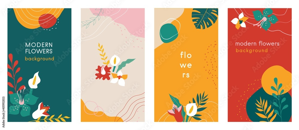 Fototapeta Abstract flowers Social media stories organic backgrounds set with modern color combinations, shapes, flowers and plants, monstera leaves, vertical format For advertising, branding vector illustration