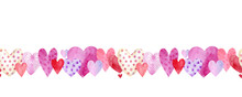 Seamless Border With Multicolored Hearts, Watercolor Illustration Hand Painted On White Background