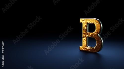 Vászonkép 3d rendering symbol of bold wrapped in gold foil on dark blue background