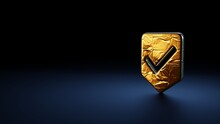 3d Rendering Symbol Of Been Here Marker Wrapped In Gold Foil On Dark Blue Background
