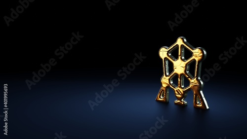 Photo 3d rendering symbol of atomium wrapped in gold foil on dark blue background