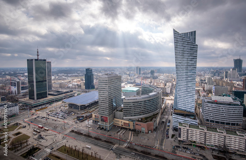 Fototapety, obrazy: WARSAW, POLAND. Aerial view with Zlote tarasy, Zlota 44 skyscraper, Warsaw Towers, InterContinental Hotel, Warsaw Financial Center - skyscrapers panorama from The Palace of Culture