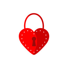 Red Lock Icon On A White Background. Valentine's Day Design Element. Flat Illustration With A Red Lock With A Heart And Dots