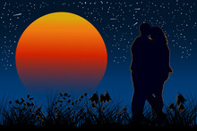 Loving Couple Enamored  On The Night Sky With Shining Stars. Couple In Evening Under The Orange Sun. Romantic Of Silhouette A Couple In Love. For Card, Poster For Valentines Day. Vector Illustration