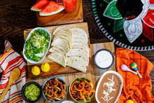 Preperation Of Fresh Spanish Mexican Food