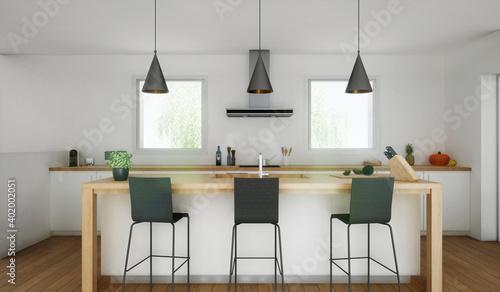 Fototapeta cuisine avec trois tabouret de bar noir _ vue 3d obraz
