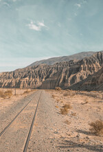 Abandoned Road With Train Tracks Through The Mountains, Salta, Argentina