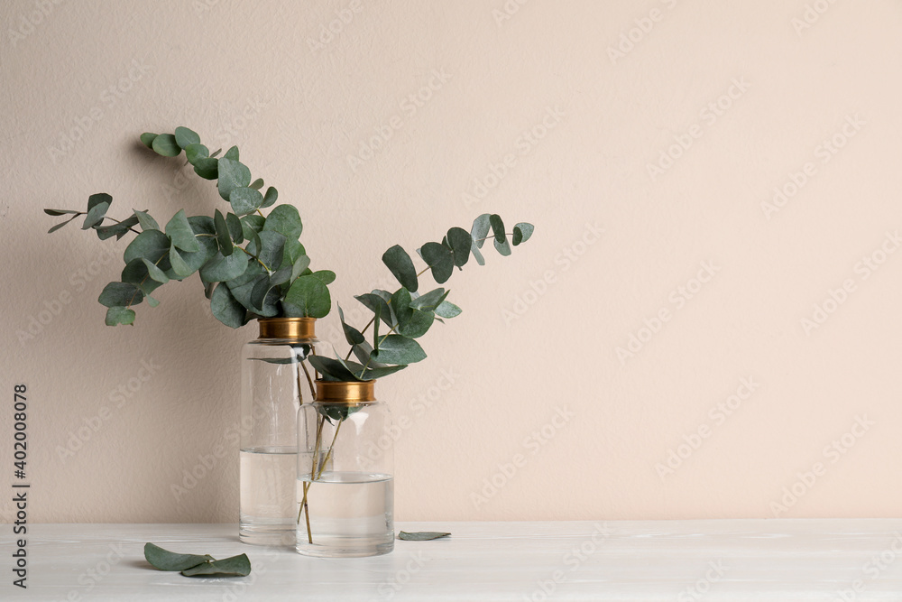 Fototapeta Vases with beautiful eucalyptus branches on white wooden table near beige wall. Space for text