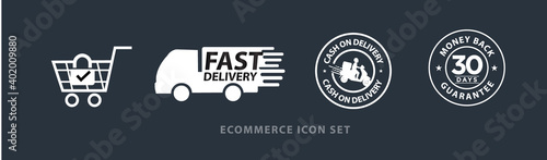 Foto ecommerce vector icon set including, safe and secure shopping, fast delivery, ca