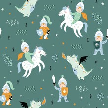 Childish Seamless Pattern With Knight, Dragon And Castle. Perfect For Kids Design, Fabric, Wrapping, Wallpaper, Textile, Apparel