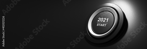 Fototapeta 2021 - Press the start button. Concept of the New Year. 3D illustration obraz
