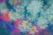 Variety Of Pastel Flowers Captured In Multiexposures While The Camera Was Rotated For Each Of The Exposures.
