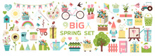 Big Spring Set. Vector Garden Tools, Flowers. Flat Design. Cute Icons For A Website, App, Sale, Or Ad. Birds, Plants, Insects And Easter Items