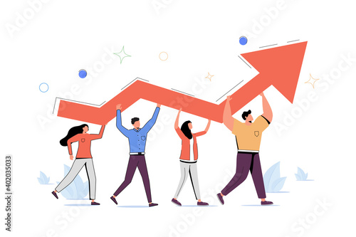 Stampa su Tela Progress development as success improvement and growth tiny person concept