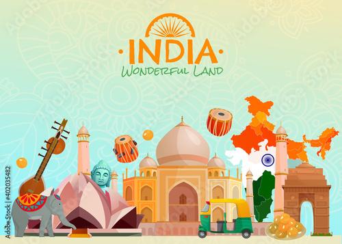 Fototapeta India Travel Poster